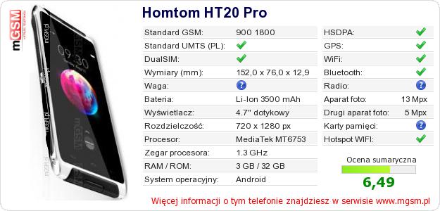 Dane telefonu Homtom HT20 Pro
