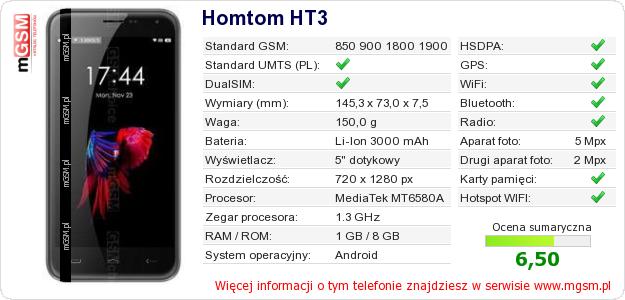 Dane telefonu Homtom HT3