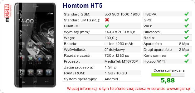 Dane telefonu Homtom HT5