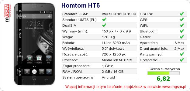 Dane telefonu Homtom HT6