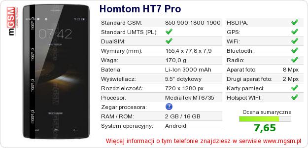 Dane telefonu Homtom HT7 Pro