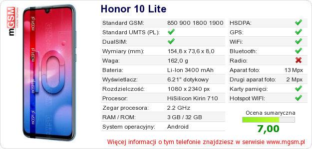 Dane telefonu Honor 10 Lite