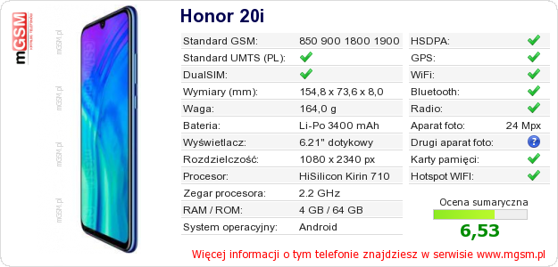 Dane telefonu Honor 20i