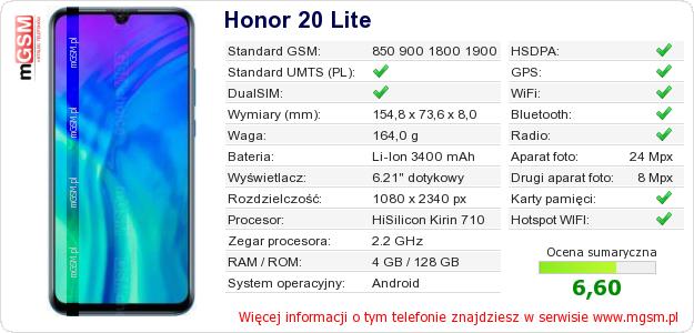 Dane telefonu Honor 20 Lite