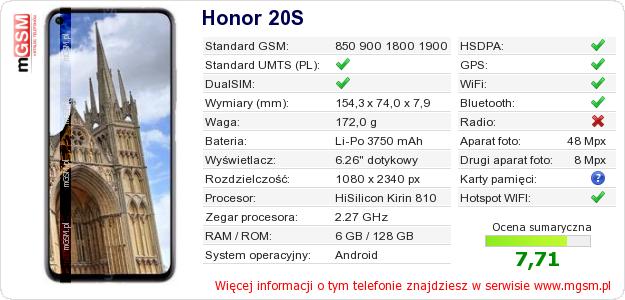 Dane telefonu Honor 20S