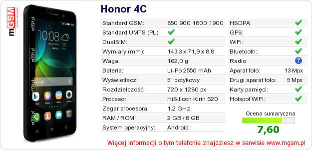 Dane telefonu Honor 4C