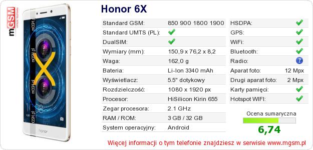 Dane telefonu Honor 6X