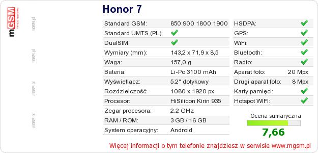 Dane telefonu Honor 7