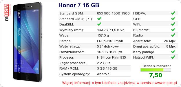 Dane telefonu Honor 7 16 GB