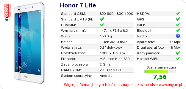 Dane telefonu Honor 7 Lite