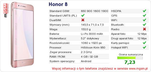 Dane telefonu Honor 8