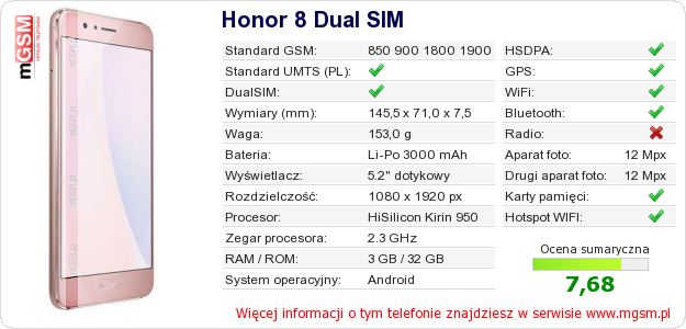 Dane telefonu Honor 8 Dual SIM