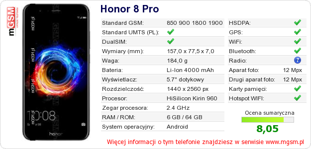 Dane telefonu Honor 8 Pro
