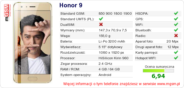 Dane telefonu Honor 9