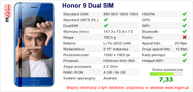 Dane telefonu Honor 9 Dual SIM