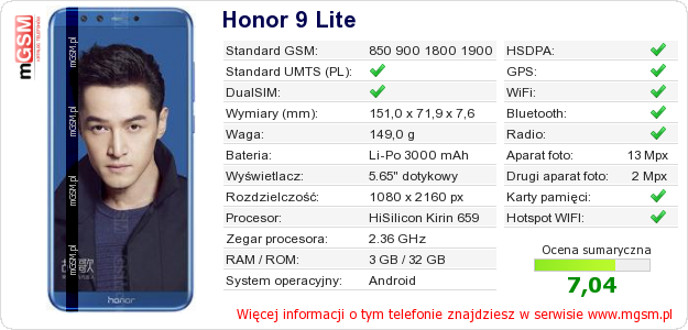 Dane telefonu Honor 9 Lite
