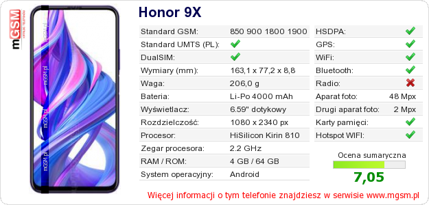 Dane telefonu Honor 9X
