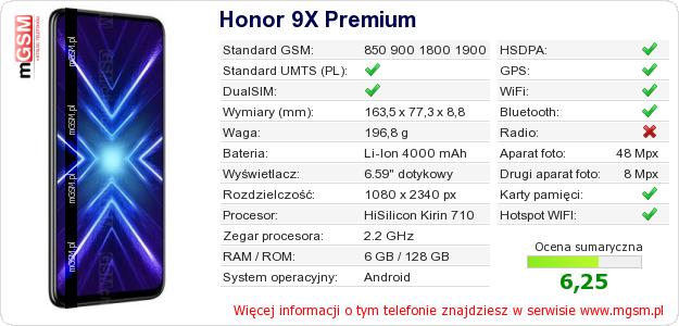 Dane telefonu Honor 9X Premium