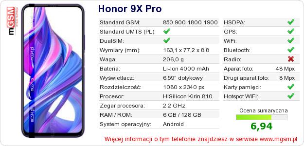 Dane telefonu Honor 9X Pro