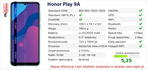 Dane telefonu Honor Play 9A