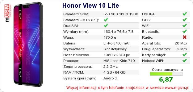 Dane telefonu Honor View 10 Lite
