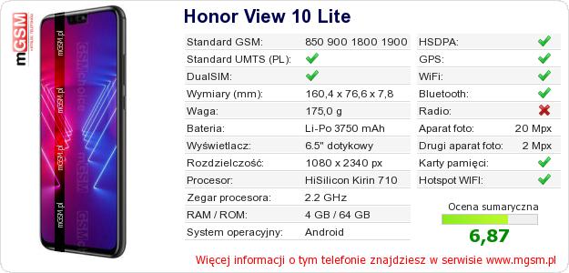 Dane telefonu Honor View 10 Lite