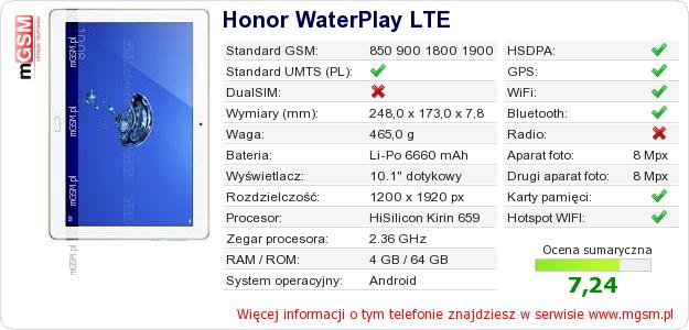 Dane telefonu Honor WaterPlay LTE