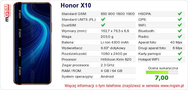 Dane telefonu Honor X10
