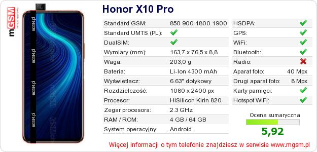 Dane telefonu Honor X10 Pro