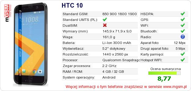 Dane telefonu HTC 10