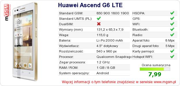 Dane telefonu Huawei Ascend G6 LTE