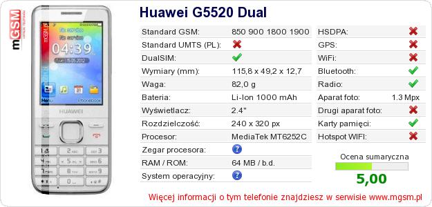 Dane telefonu Huawei G5520 Dual