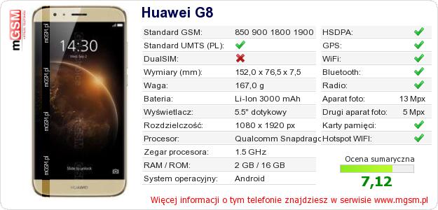 Dane telefonu Huawei G8