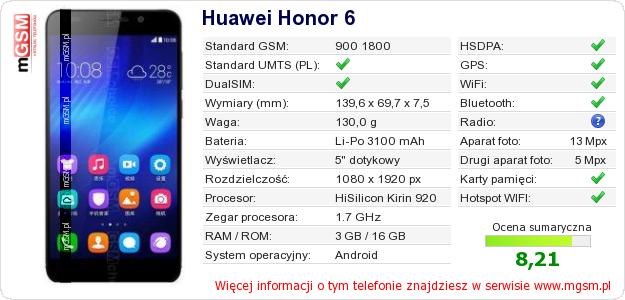Dane telefonu Huawei Honor 6