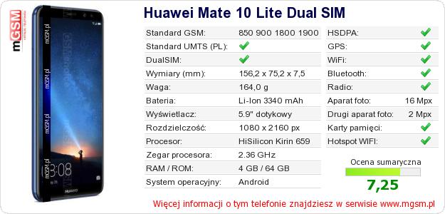 Dane telefonu Huawei Mate 10 Lite Dual SIM