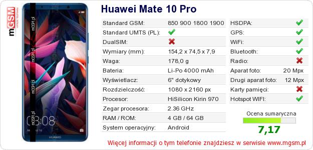 Dane telefonu Huawei Mate 10 Pro