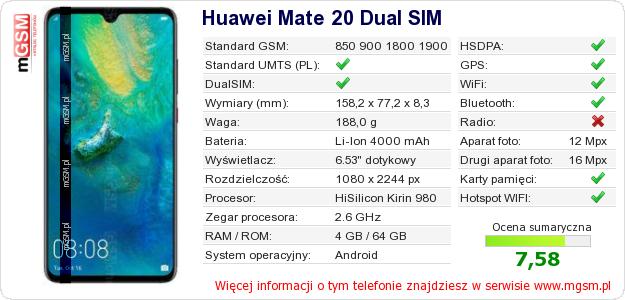 Dane telefonu Huawei Mate 20 Dual SIM