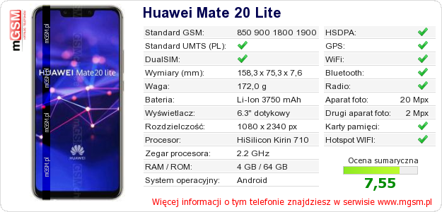 Dane telefonu Huawei Mate 20 Lite