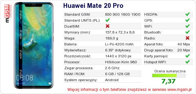 Dane telefonu Huawei Mate 20 Pro