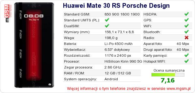 Dane telefonu Huawei Mate 30 RS Porsche Design