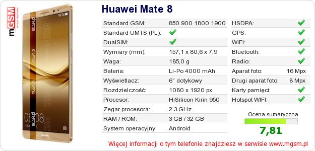 Dane telefonu Huawei Mate 8