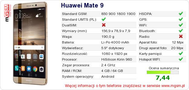 Dane telefonu Huawei Mate 9