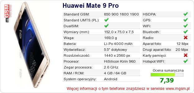 Dane telefonu Huawei Mate 9 Pro
