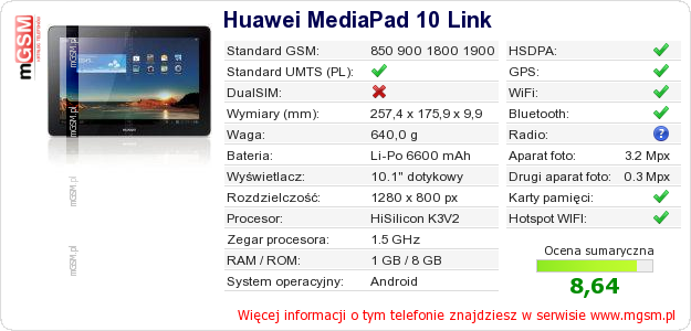 Dane telefonu na Twojej stronie Huawei MediaPad 10 Link :: mGSM pl