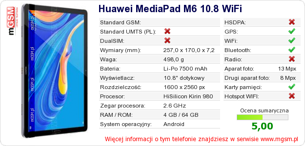 Dane telefonu Huawei MediaPad M6 10.8 WiFi
