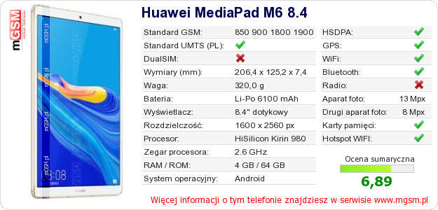 Dane telefonu Huawei MediaPad M6 8.4