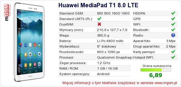 Dane telefonu Huawei MediaPad T1 8.0 LTE