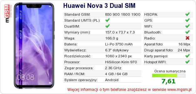 Dane telefonu Huawei Nova 3 Dual SIM