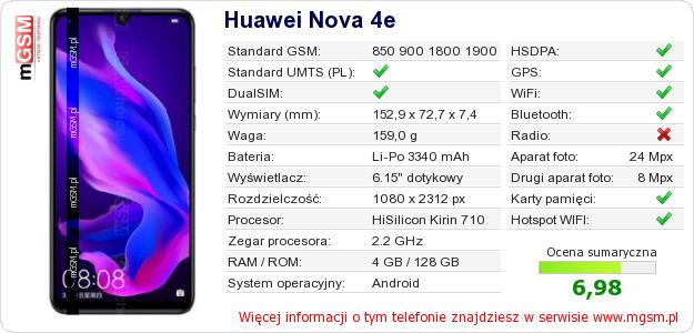 Dane telefonu Huawei Nova 4e