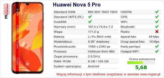 Dane telefonu Huawei Nova 5 Pro